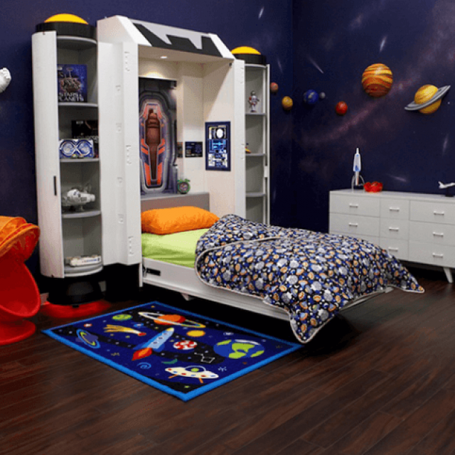 Create a space-themed bedroom for your little astronaut