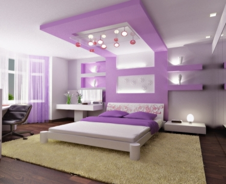 Cool Purple Bedroom Ceiling Decor With Lighting Accessories From Gypsum White Walls